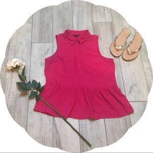 American Eagle Pink Collared Peplum Shirt